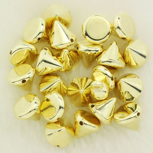 Forever Yung Golden 100pcs 8MM Bullet Cone Spike Acrylic Rivet Punk Bracelet Spacer Leathercraft DIY by Vogholic