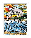 Terciopelo color de 47 x 35 cm 'Dolphin' Sistema de colorear Dibujo (grande, Multi-Color)