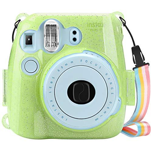 Fintie Tasche für Fujifilm Instax Mini 9 Mini 8 Mini 8+ Sofortbildkamera - Ultradünne PVC Hartschale Schutzhülle Reise Kameratasche Hülle Abdeckung mit Regenbogen abnehmbaren Riemen, SchimmerndGrün