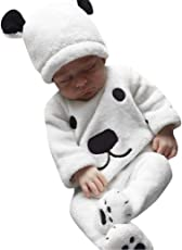 Outtop(TM) Baby-Boys' 3Pcs Winter Cartoon Tops Pants Outfits Fluffy Warm Clothes