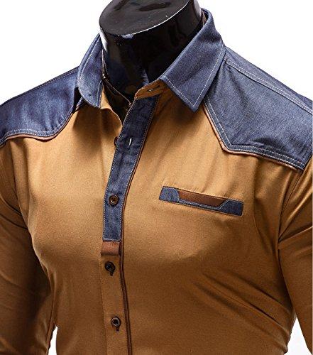 BetterStylz Tobe Slim Fit Hemd Langarm Hemden Freizeit Buiseness 3 Farben (S-XL) Camel/Jeans Blau