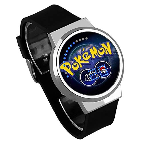 MD@Alarm Clock Studentenuhr Mit Pokemon Element, Kreative LED wasserdichte Touchscreen Armbanduhr für Jungen und Gril Elektronische Uhr Souvenir Geschenk,C,02