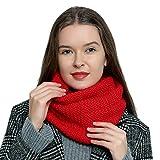 DonDon Écharpe en laine tube pour femme chaude et douce en tricot - Rouge