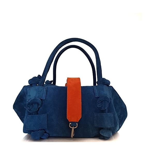 Leather suede crossbody bag with top handle Italian handmade - handmade-bags