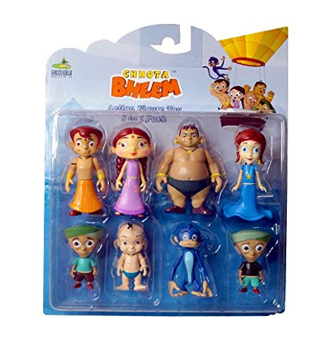 Chhota Bheem Action Figures Action Figure 8 in 1 Set with Dholu- New Packing