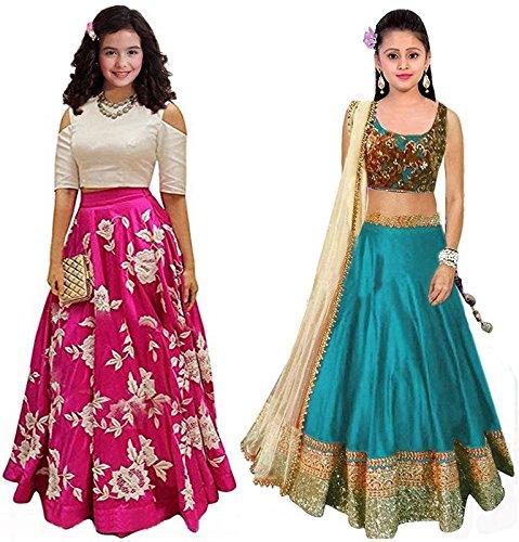 Market Magic World Girl's Pink & Firozi Banglori Semi Stitched Combo Pack...