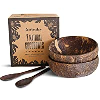 Coconut Bowls And Wooden Spoon Sets: 2 Vegan Organic Salad Smoothie or Buddha Bowl Kitchen Utensils (2, Natural)