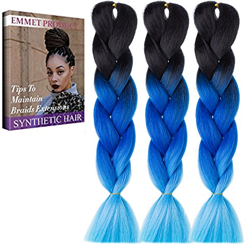 Emmet 24 inch trecce capelli 3pcs/lot ombre fibra sintetica kanekalon capelli extension