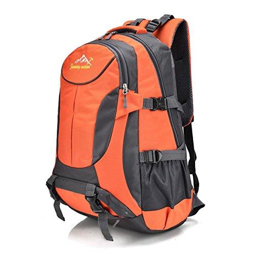 Nylon wasserdicht Rucksack für Männer/Frauen Multifunktion Freizeit Portable Klettern Reisen Wandern ritt Rucksack Business Studenten Tasche H52 x L33 x T19 cm Orange