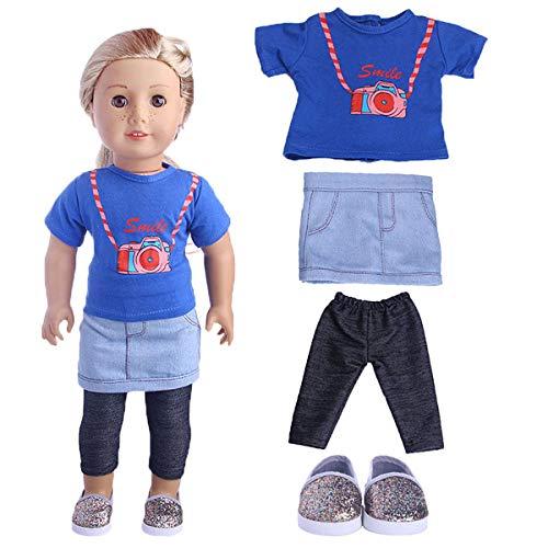 Uteruik Puppenkleidung für 46 cm Mädchen Puppe Our Generation Puppe, T-Shirt, Rock, Schuhe, Outfits, Kostümzubehör, 4-teiliges Set (Generation Puppe Schuhe Sind)