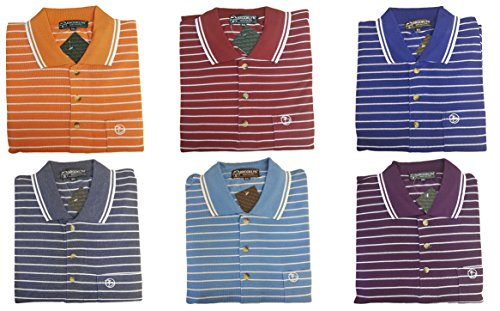 Louie James Big and Tall Size Sriped Polo with Chest Pocket Cotton Rich T-Shirt Top Large Size Fit