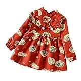 sunnymi Für 1-5 Jahre Kleid Baby Mädchen Prinzessin Langarm Blumen Outfits Kleidung (5 Jahre, Rot)