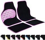 WOLTU AM7151 Auto Fußmatten Set , Teppich & PVC , Trittschutz im Pedalbereich , rutschfeste Klettbefestigung , 4-teilig , universal , Luxus Design , ROSA umrandet