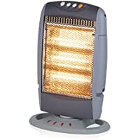 Warmlite WL42005N Three Bar Halogen Heater, Wide Angle Oscillation Function with Removable Bulbs, 1200 W, Grey