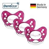 Dentistar Schnuller 3er Set- Nuckel Silikon in Größe 3, ab 14 Monate - zahnfreundlich & kiefergerecht - Beruhigungssauger für Babys - Pink Prinzessin