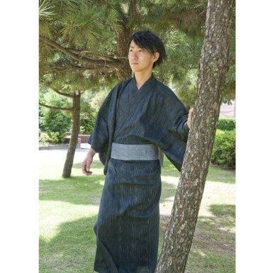 Edoten Men's Kimono Japan Shijira Weaving Yukata 703 Black L - 3