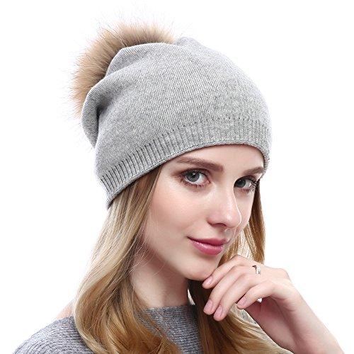 VEMOLLA Cappello Cristallo Invernale Berretto Lavorato a Maglia di Lana per Le Donne con PON PON Staccabile in Pelliccia