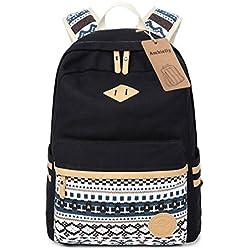 Ambielly Estilo mochilas escolares espesado bolsa de mano hombro del ordenador portátil Mochila bolso causal mochila escolar (Negro-1)