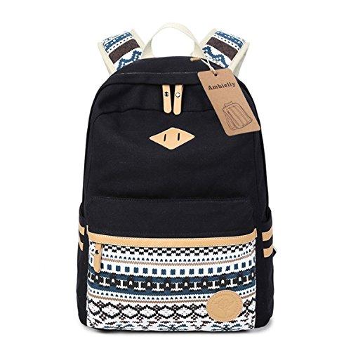 Imagen de ambielly estilo  escolares espesado bolsa de mano hombro del ordenador portátil  bolso causal  escolar negro 1