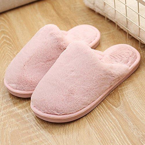 BYSTE Donna Piatto morbido Soffice Faux Pelliccia Piatto pantofola Flip Flop sandali Scarpe Rosa
