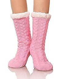 DOFUN Womens Girl Soft Knee High Warm Winter Fuzzy Fleece Lined Slipper Socks