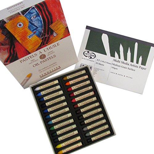 sennelier-olio-pastello-set-di-24-colori-assortiti-plus-free-curtisward-multi-media-a5-pad