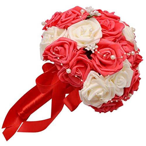 Coloré(TM) Roses de cristal Roses de cristal perle demoiselle d'honneur de mariage Bouquet de mariée en soie artificielle fleurs (Rouge)