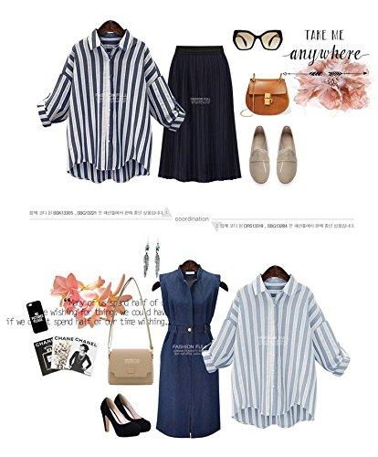 Blansdi Femme Elégante Rayuré Coton Boutons Col V Hauts Chemise Manches Longues Tops Blouse Shirt Bleu clair