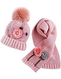 ACMEDE Cappello e Sciarpa Lavorati a Maglia per Bambini Invernali 268be17bdecf