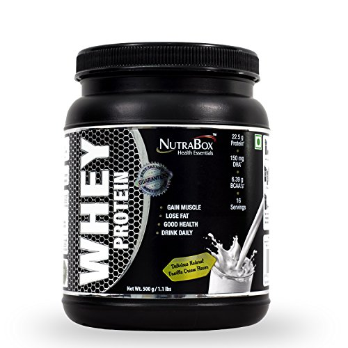 Nutrabox 100 % Whey Protein+ Dha & Mct (Rich Vanilla Cream) 1.10 Lbs  available at amazon for Rs.1190