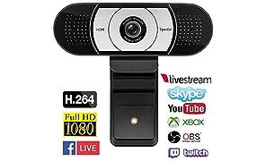 1080P Pro Webcam H.264 Autofocus Stream PC Cámara Web Videollamadas y Pantalla Panorámica Grabación con Dos Micrófonos Estéreo y Audio para Windows y Mac Compatible con Xbox One, Brillo Automático