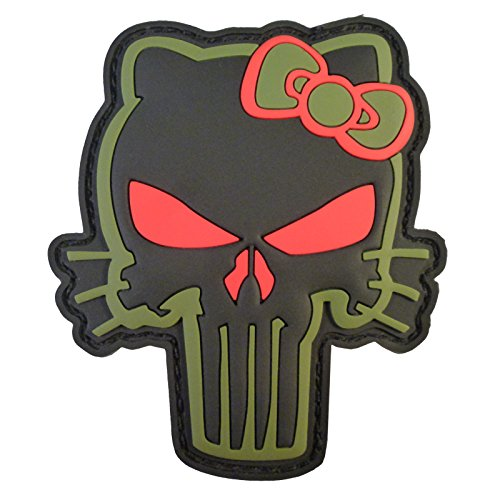 2AFTER1 Olive Drab OD Punisher Hello Kitty PVC Rubber 3D Morale Tactical Hook&Loop Patch