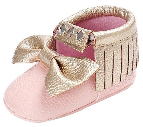 Happy Cherry Chaussures Premier Pas en Cuir pour Bébé Fille Chausson Semelle Antidérapant Souple pour Printemps Automne Hiver Taille 18-22