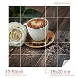 Graz Design 765278_15x20_60 Fliesenaufkleber Cappuccino/Rose | Küchen-Fliesen mit Folie überkleben (Fliesenmaß: 15x20cm (BxH)//Bild: 60x60cm (BxH))