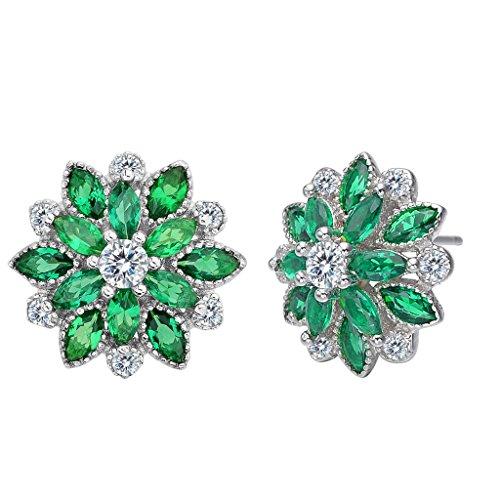 Clearine Damen 925 Sterling Silber Hochzeit Braut Cubic Zirconia Schneeflocken Inspiriert Blume Pierced Ohrringe Smaragd-farbe (Smaragd Farbe Kostüme Schmuck)