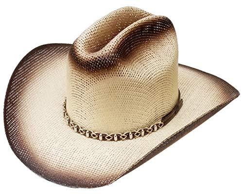 Modestone Unisex Straw Cowboy-Hut Bangora Metal Studs Hatband 2 Tone -