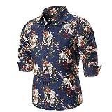Herren-Hemd – Slim-Fit –Blumendruck Haushemd Bügelleicht Bluse Männermode – Für Anzug, Business, Hochzeit, Freizeit – Langarm-Hemd für Männer Freizeithemd