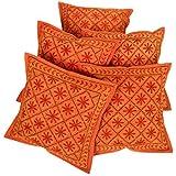 Rajrang Dekoration Kissenbezug Bestickt Orange Baumwolle Kissenbezug 5 St.