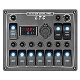 10 Gang AC/DC Blau LED Schaltpaneel Schalter Schalttafel Wippschalter Wasserdicht mit Voltmeter für Auto Boot mit DIY Aufkleber