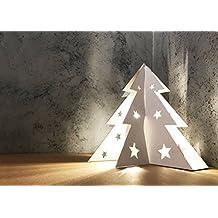 Albero di Natale da tavolo in cartone, lampadina inclusa - alt. 30 cm (Bianco)