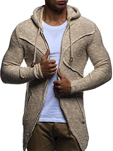 LEIF NELSON Herren Strickjacke Hoodie Pullover Kapuzenpullover Sweatjacke Zipper Sweatshirt LN20737; Grš§e M, Beige