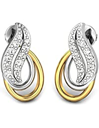 Candere By Kalyan Jewellers Contemporary Collection .925 Sterling Silver and Diamond Stud Earrings