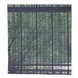 ZEMIN Bambus Rollo Winddicht Einfachheit Abgeschnitten Bambusrollo Anpassbar Heben, Innen/Außen Installieren, 3 Farben, 24 Größen Wahlweise (Farbe : SCHWARZ, größe : 85×200cm)