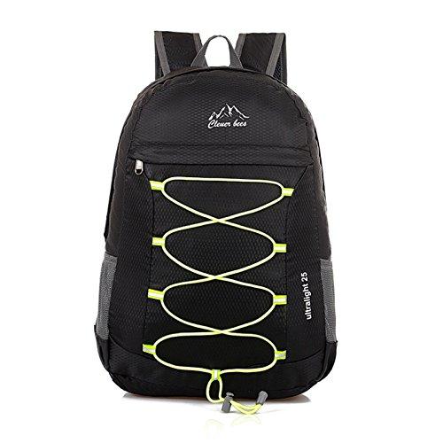 WTUS Damen Herren Neu Großer Kapazität Reiserucksack Modische Freizeit Schultasche Faltbarer Daypacks Für Outdoor Sports Schwarz