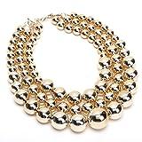 Jerollin Damen Statement Kette Perlenkette Bib Kette Choker Chunkyhalskette- Gold