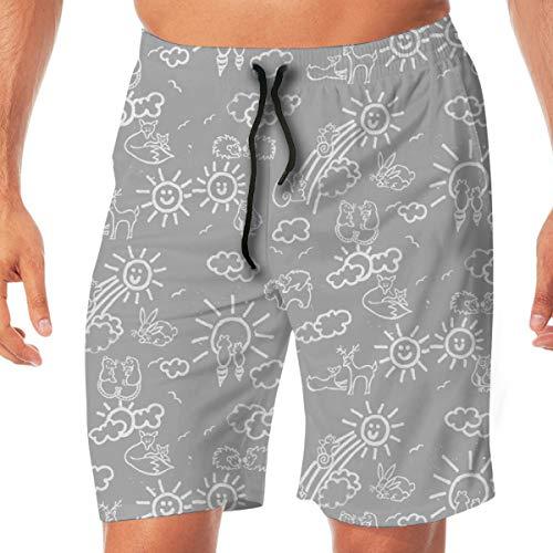 Herren Boardshorts Sie sind Mein Sonnenschein Woodland Animals-in Grau und Weiß_2842 Badehose Surf Strand Urlaub Party Badeshorts Strandhosen L (Sonnenschein-party Sind Sie Mein)