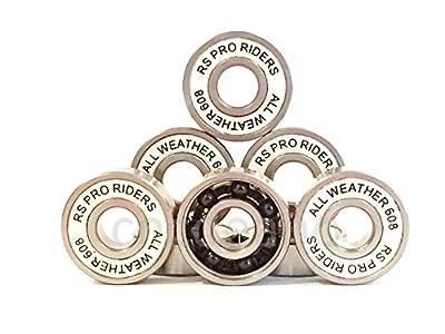 Kugellager, aus Keramik (Si3N4)und Edelstahl, für alle Wetterlagen, entspricht der Kugellager-Norm ABEC 9,Typ 608 (8x 22x 7mm), passend für Skateboards, Longboards, Stunt-Scooter und weitere