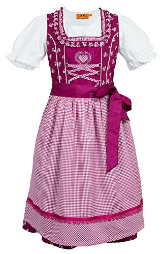 Maddox Kinder Dirndl Annemarie – Beere – Süßes Kleid mit Schürze und Bluse – Oktoberfest...