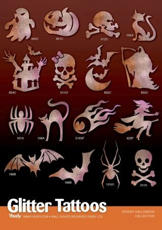 (Ybody Glitzertattoos Set mit 32 Tattoo Schablonen Halloween)