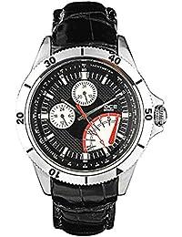 FOCE Black Round Analog Wrist Watch for Men with Black Genuine Leather Strap - F984GSL-BLACK